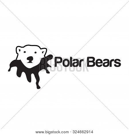 Polar Bear Icon, Flat Design. Animal Logo. Polar Bear Icon From Global Warming