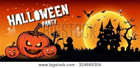 Halloween Night Background With Full Moon, Halloween Banners With Pumpkins