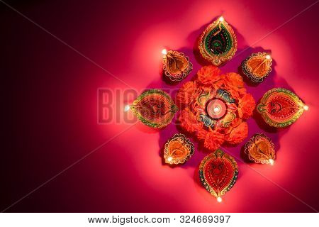 Happy Diwali - Clay Diya Lamps Lit During Dipavali, Hindu Festival Of Lights Celebration. Colorful T