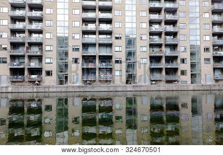 Copenhagen, Denmark - September 4, 2019: Exterior View Of A Modern Multistory Apartment Building.