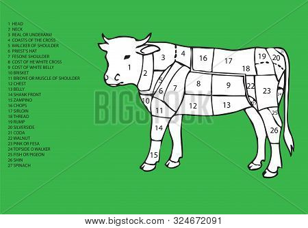 Image Of Bovine Sectioned With List Of Meat Cuts