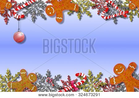 Beautiful Illustration With Gingerbread Man And Snowflakes On A Beautiful Background
