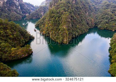 Famous Tourist Attaction Bao Feng Lake In Zhangjiajie China