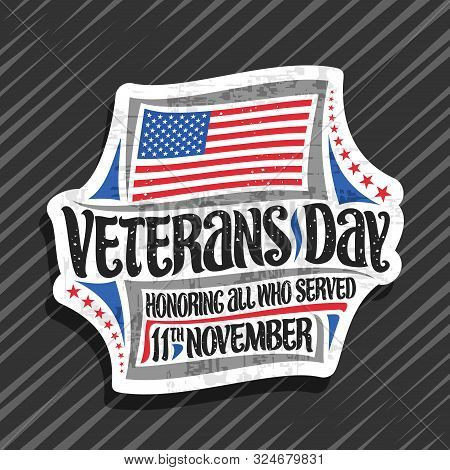 Vector Logo For Veterans Day, Decorative Cut Paper Tag With Illustration Of National Red And Blue St