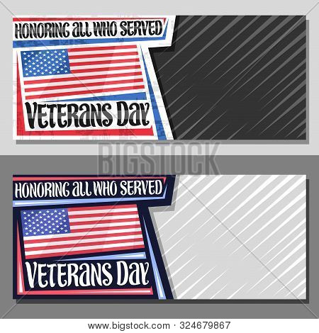 Vector Layouts For Veterans Day With Copy Space, Decorative Coupon With Illustration Of National Red