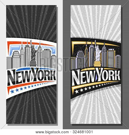 Vector Layouts For New York City, Decorative Flyer With Illustration Of Statue Of Liberty On Backgro