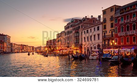 Venice In Summer Dusk, Italy. Panorama Of Famous Grand Canal, Famous Street Of Venice. Beautiful Cit