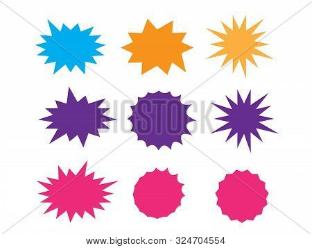 Starburst Isolated Icons Set. Starburst Explosion Comic Shapes. Speech Boom Bubble