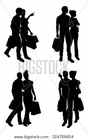 A Set Of Couples Holding Bags Happily Shopping At Retail Shops, In Silhouette