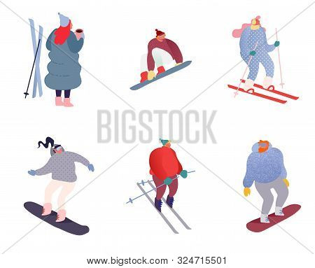 Set Of Winter Sport People Characters. Sportsman On Snowboard, Skis. Snowboarding, Skiing And Skatin