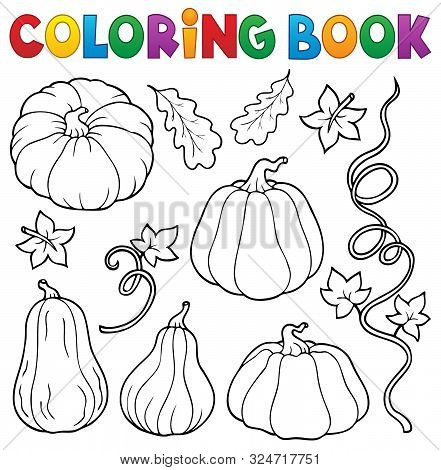 Coloring Book Pumpkins Collection 1 - Eps10 Vector Picture Illustration.