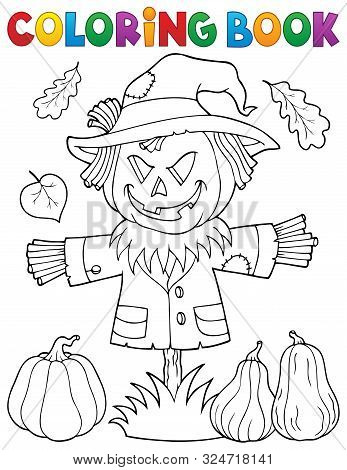 Coloring Book Scarecrow Topic 1 - Eps10 Vector Picture Illustration.