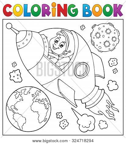 Coloring Book Space Theme 2 - Eps10 Vector Picture Illustration.
