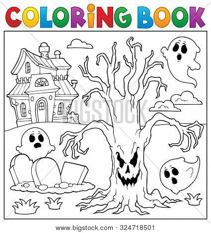 Coloring Book Spooky Tree Thematics 2 - Eps10 Vector Picture Illustration.