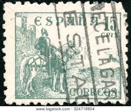 Vintage Stamp Printed In Spain 1934 Shows Rider With A Sword