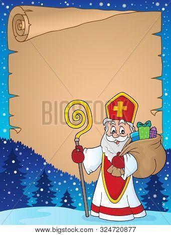 Saint Nicholas Topic Parchment 7 - Eps10 Vector Picture Illustration.