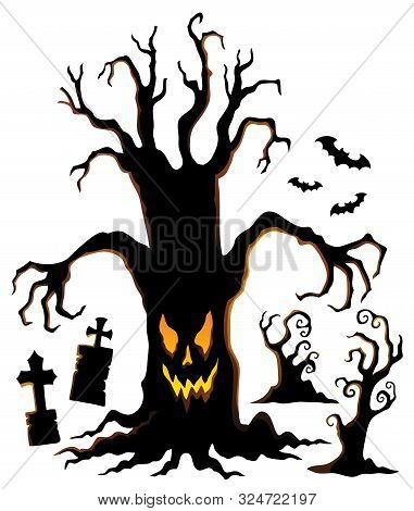 Spooky Tree Silhouette Topic Image 1 - Eps10 Vector Picture Illustration.