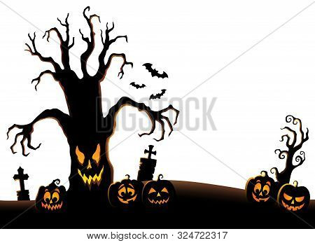 Spooky Tree Silhouette Topic Image 2 - Eps10 Vector Picture Illustration.