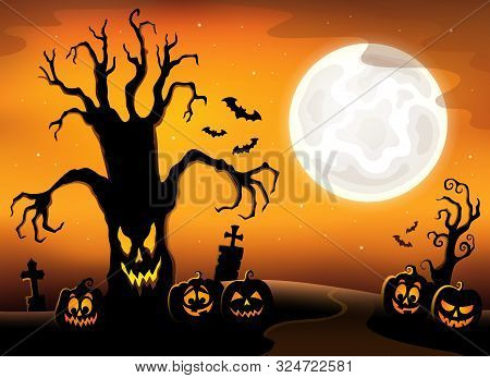 Spooky Tree Silhouette Topic Image 3 - Eps10 Vector Picture Illustration.