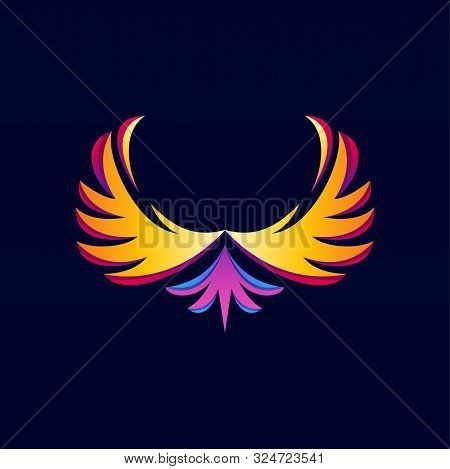 Colorful Flying Wings Isolated With A Black Background, Luxury Wings Vector, Wings Logo Vector, Wing