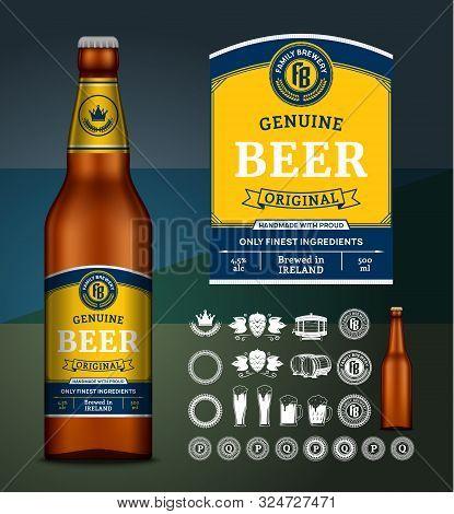Vector Beer Label. Glass Bottle Mockup. Beer Icons, Badges, Insignia