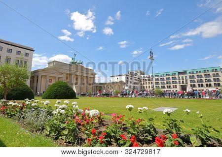 Berlin Germany - June 8, 2019: Unidentified People Visit Pariser Platz Plaza Berlin Germany