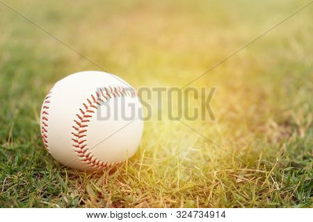 Close Up Baseball On The Infield, Sport Concept