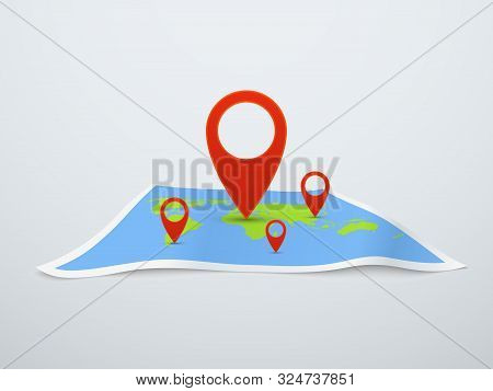World Map With Pin. Earth Map With Location Pointers In Perspective. Travel Technology 3d Vector Geo