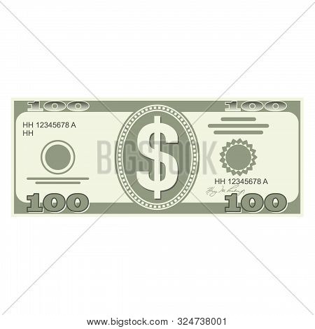 Illustration Of Money Icons. Dollar Currency Banknote Green. Dollars Bill, Money Banknote. Dollar Bi
