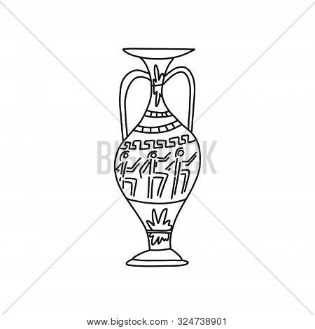 Advertising Banner Hand-drawn Vintage Amphora. Grecian Amphora. Ancient Vases Greek Culture. Various