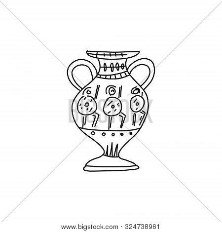 Informational Poster Quick Sketch Greek Amphora. Sketch Is Ancient Vase Greek Culture. Images Warrio