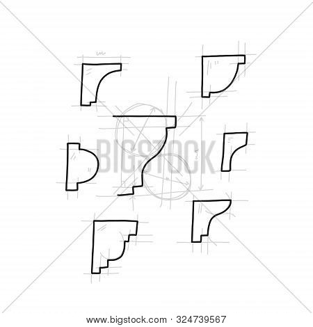 Advertising Banner Set Sketch Hand-drawn Moulding. Decorative Part In Form Laid-on Convex Plank For