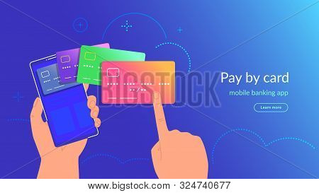 Mobile Banking App And Payment By Credit Card Via Electronic Wallet Wirelessly And Easy. Bright Vect