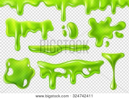 Green Slime. Slimy Purulent Blots, Goo Splashes And Mucus Smudges. Realistic Halloween Elements Isol