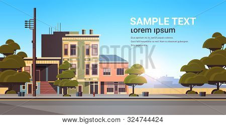 City Building Houses Exterior Modern Town Street In Summer Season Sunset Cityscape Background Horizo