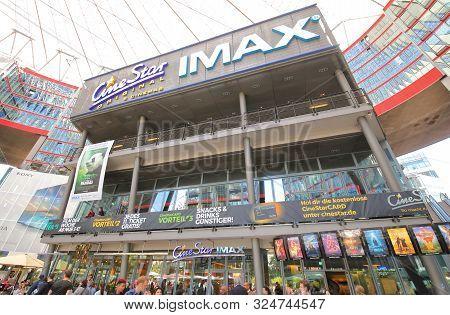 Berlin Germany - June 8, 2019: Unidentified People Visit Imax Movie Cinema Sony Centre Potsdamer Pla