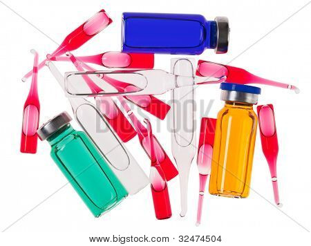 Multicolor medical ampoules isolated on a white