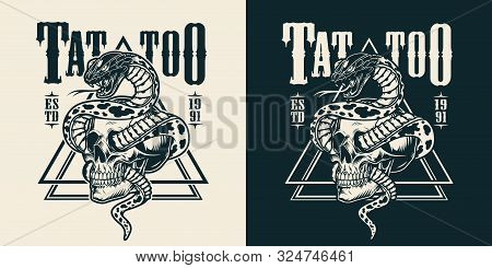 Snake Entwined With Skull Tattoo Emblem In Vintage Monochrome Style Isolated Vector Illustration