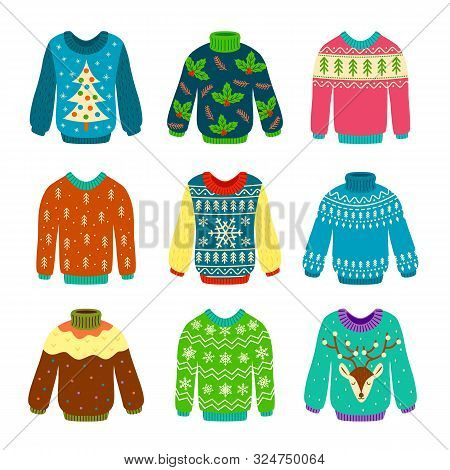 Ugly Christmas Sweater. Knitted Jumpers With Winter Patterns, Snowflakes And Deer. Xmas Funny Cozy C