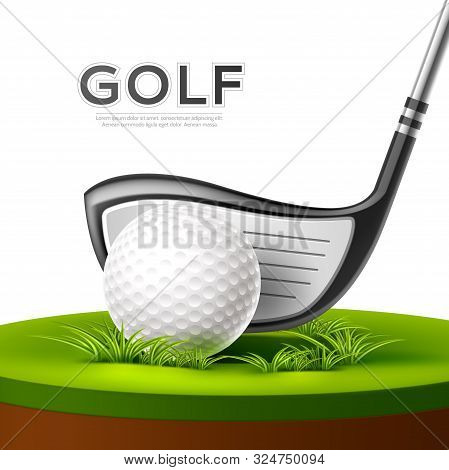 Vector Golf Tournament Poster Golf Club And Ball