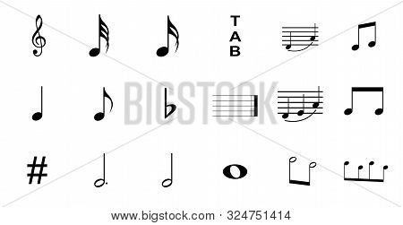 Musical Symbols , Elements Of Musical Symbols, Icons And Annotations. Set Of Music Symbol
