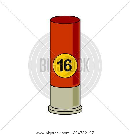 Hunting Weapon Cartridge. Ammunition Bullet Illustration With Calibre Size Text. Ammo For Hunt.