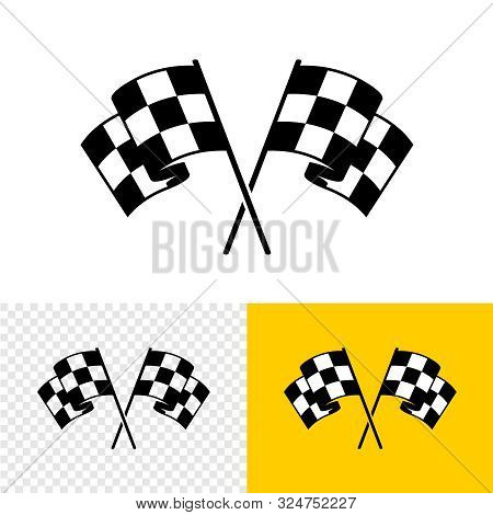 Checkered Race Flags Crossed. Two Start Or Finish Flags In A Cross. Automotive Or Sport Attribute. S