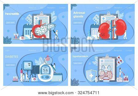 Adrenal Glands, Hypothyroidism Concept. Tiny Doctors Treat Pancreas, Graves Disease, Diagnose Diabet