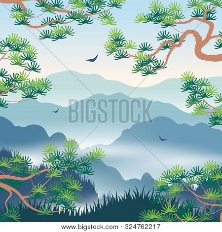 Simple Landscape With Blue Foggy Mountains And  Korean Pine Branches. Nature Background With Serenit