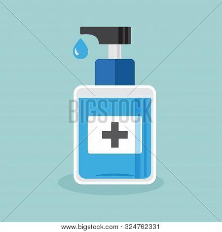 Disinfection. Hand Sanitizer Bottle, Washing Gel Vector Illustration