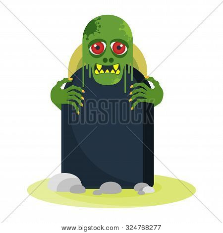 Green Toothy Zombie With Red Eyes Peeps Out From Behind A Gravestone.