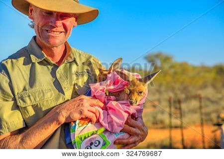 Alice Springs, Northern Territory, Australia - Aug 29, 2019: Brolga Kangaroo Dundee And Founder Of T