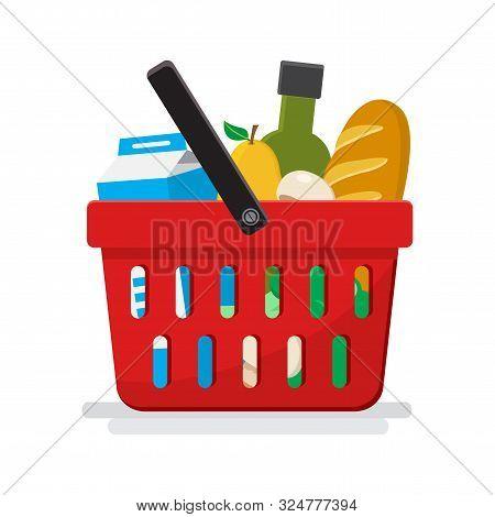 Supermarket. Shopping Basket With Groceries. Vector Illustration