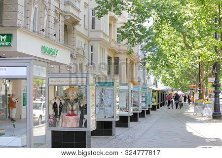 Berlin Germany - June 9, 2019: Unidentified People Visit Kurfurstendamm Shopping Street Berlin Germa
